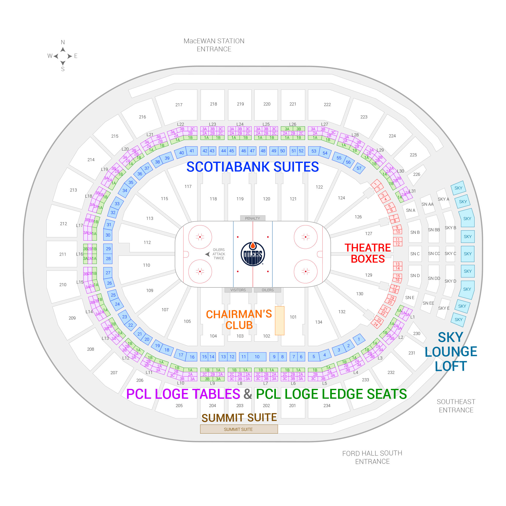 Rogers Place / Edmonton Oilers Suite Map and Seating Chart
